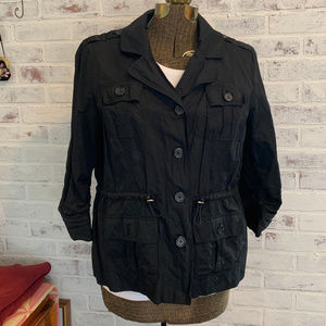 New Chico's lined black utility jacket, Sz2 (Lg)